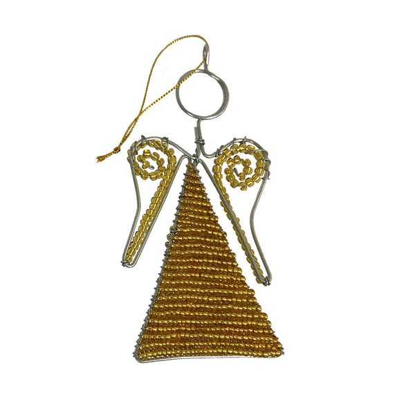 Gold Beaded Angel Ornament - Set of 3