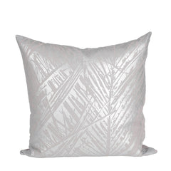 Silver Leaf Print on Grey Cushion