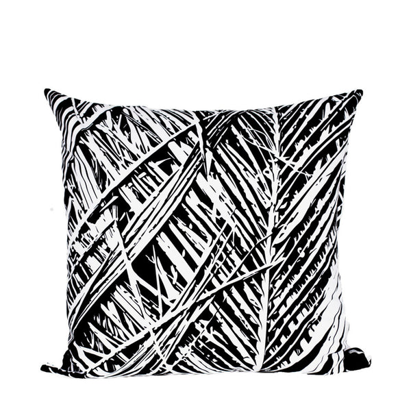 Black Leaf Print Cushion