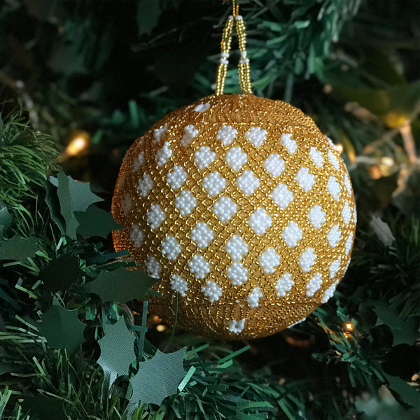 Gold Beaded Ball Decoration - Set of 3