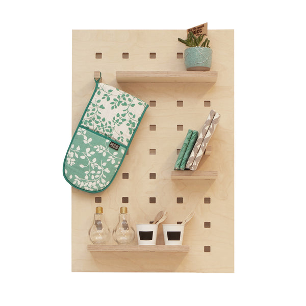 Wooden Pegboard with Shelves