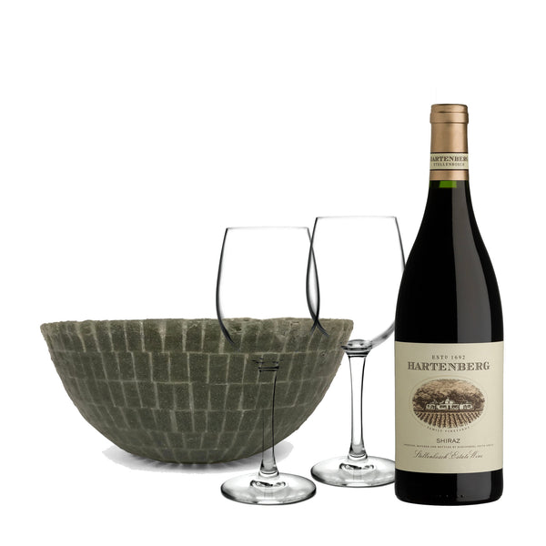 Grey Silicone Bowl, Hartenberg Shiraz, & Wine Glasses Set - Limited Edition