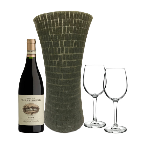 Grey Silicone Column Vase, Hartenberg Shiraz, & Wine Glasses Set - Limited Edition
