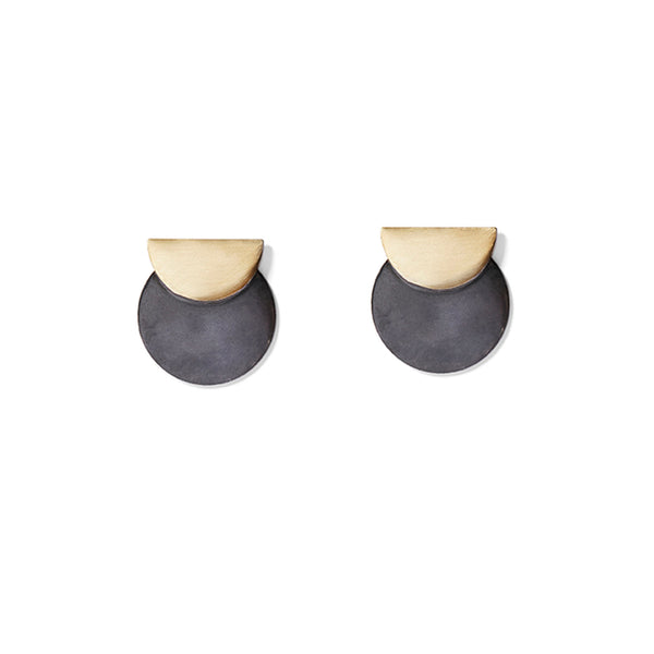 Charcoal & Gold Full & Half Disc Earrings
