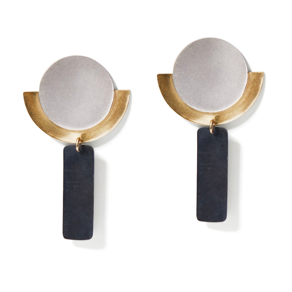 Silver, Gold & Charcoal Round Deco Dangles Earrings