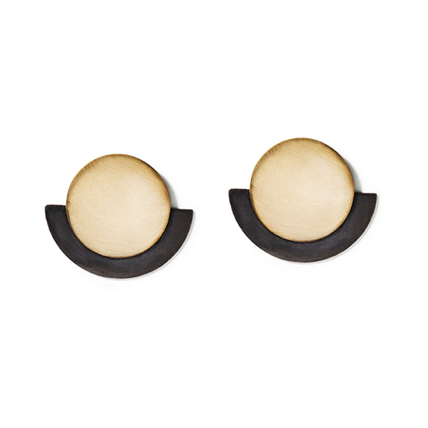 Gold & Charcoal Round Deco Earrings
