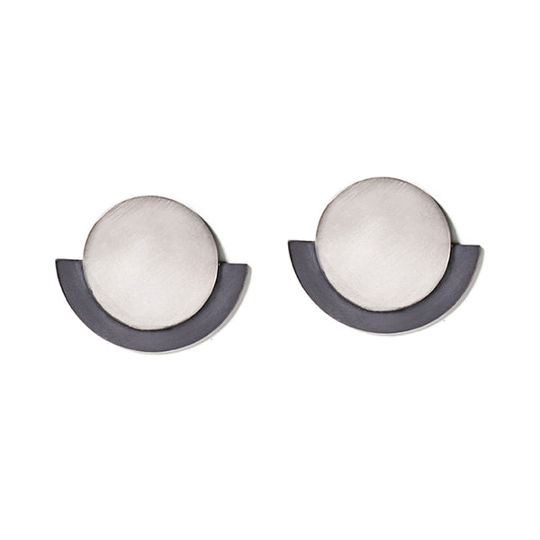 Silver & Charcoal Round Deco Earrings