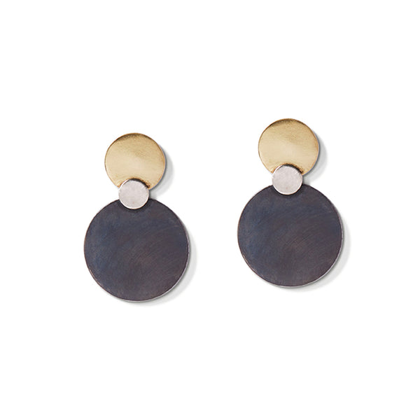 Gold & Charcoal Triple Disc Earrings