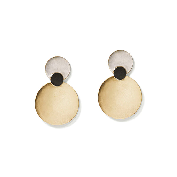 Silver & Gold Triple Disc Earrings