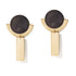 Charcoal & Gold Round Deco Dangles Earrings