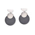 Silver & Charcoal Double Disc Earrings
