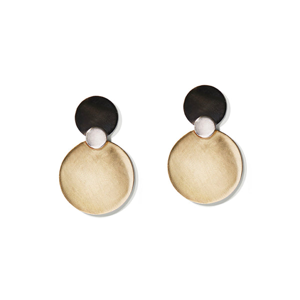 Charcoal & Gold Triple Disc Earrings
