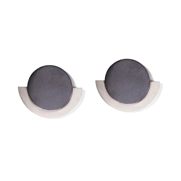 Charcoal & Silver Round Deco Earrings