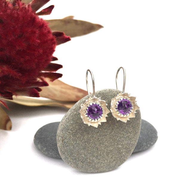 Amethyst Protea Earrings