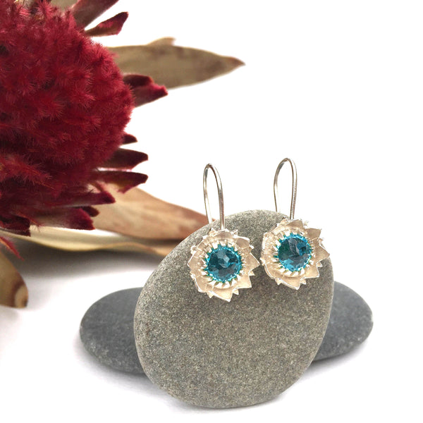 Blue Topaz Protea Earrings