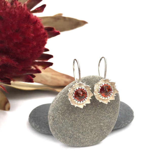 Garnet Protea Earrings