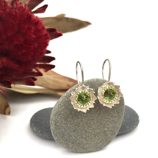 Peridot Protea Earrings