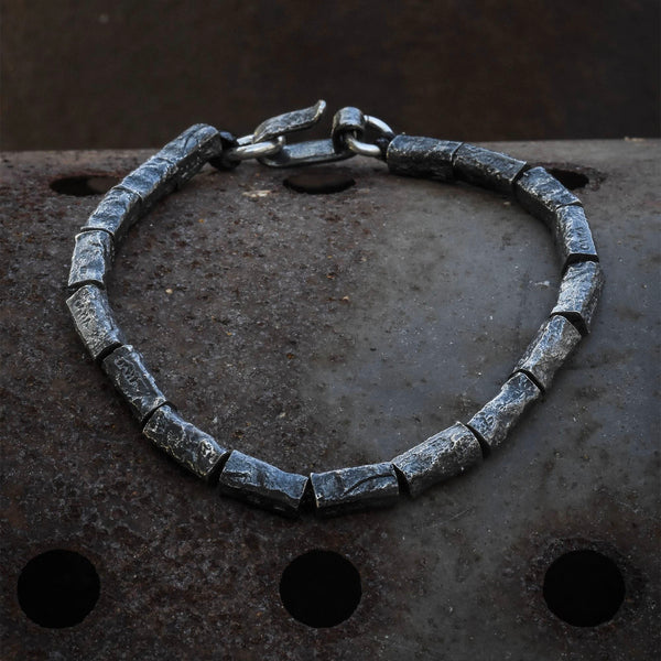 Reticulated Oxidised Silver Bracelet