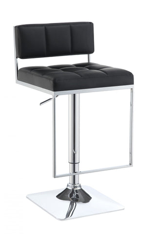 Low Back Black Leatherette Adjustable Swivel Bar Stool