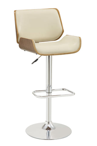 Ador Walnut and Ecru Adjustable Swivel Bar Stool