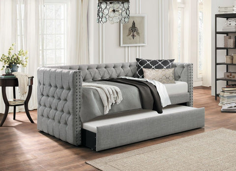 Button Tufted Nailhead Trim Upholstered Daybed With Trundle, Gray