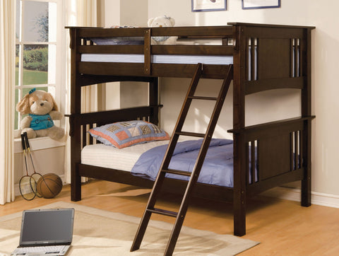 Dark Walnut Finish Twin/Twin Bunk Bed