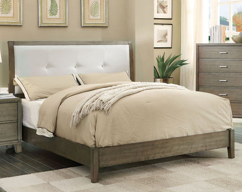 Enrico Bed, Weathered upholstered Gray