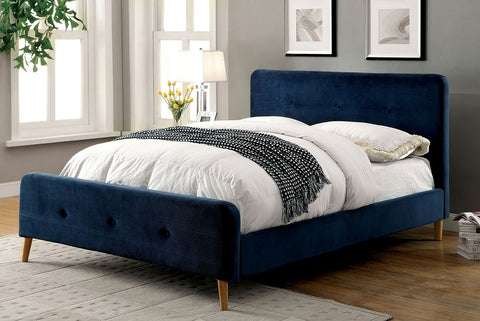 Barney Mid Century Modern Bed (Available in Blue or Grey)