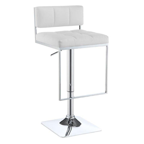Low Back White Leatherette Adjustable Swivel Bar Stool