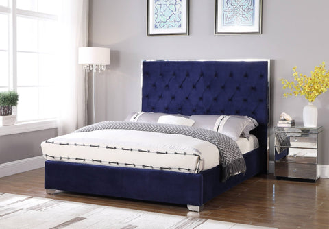 Lexa Tufted Velour Platform Bed - Blue