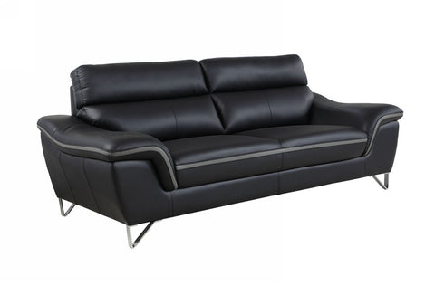 Contemporary Premium Leather Match Sofa - Black with gray accent