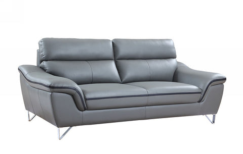 Contemporary Premium Leather Match Sofa - Gray