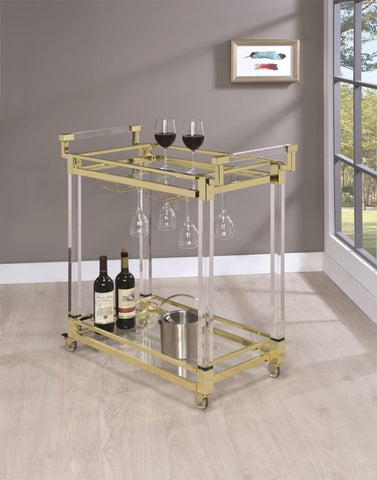 Gold and Clear Acrylic Serving Cart
