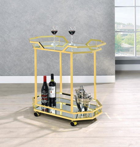 Gold Geometric Serving Cart