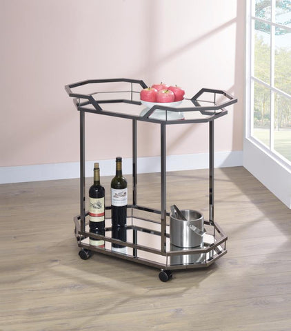 Black Geometric Serving Cart