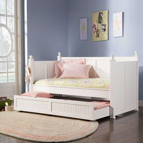 Linden Semi-Gloss White Twin Daybed with Trundle
