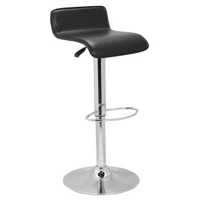 Simone Black Leatherette Adjustable Bar Stool, Set of 2