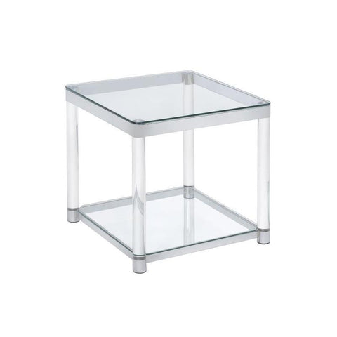 Contemporary Glass Top with acrylic legs End Table