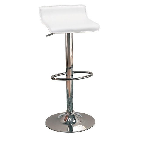 Simone White Leatherette Adjustable Bar Stool, Set of 2