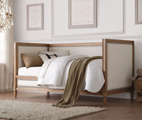 CHARLTON Oak Finish Daybed With Cream Linen Fabric
