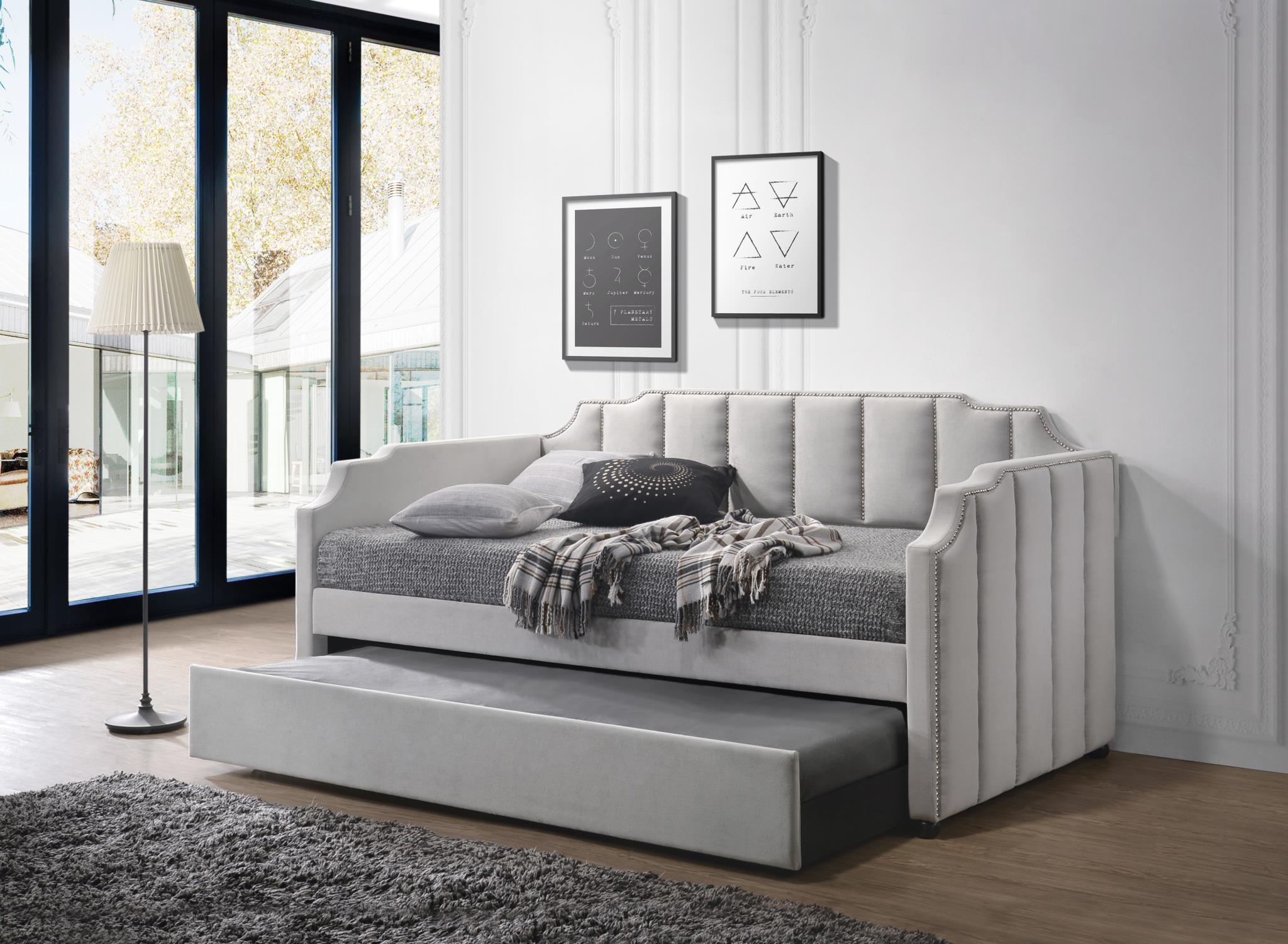 - Peridot Modern Daybed WITH Trundle - Dove Grey Velvet – Astar