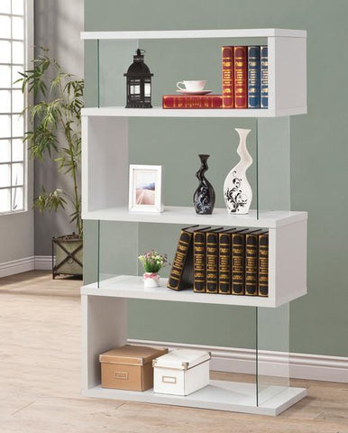 Zia Contemporary Bookcase, in White