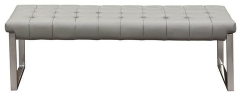 Hermez tufted Grey leatherette bench