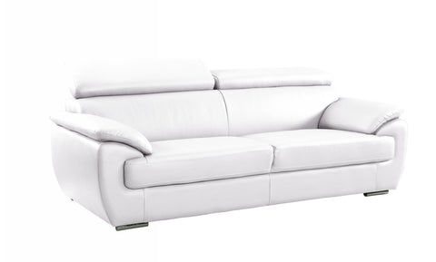 Contemporary Premium Leather Match Sofa - White