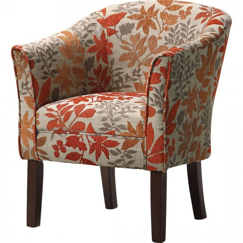 Pattern Accent Chair - Beige/Red/Orange