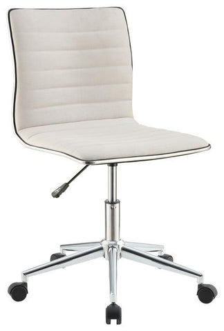 Dex Modern Fabric and Chrome Swivel Office Chair, White