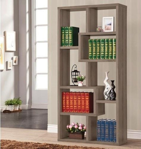 Cubed Rectangular Bookcase, Weathered Grey