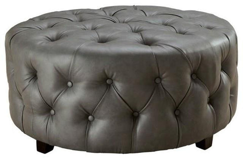 Tufted Round Ottoman, in Gray bonded leather