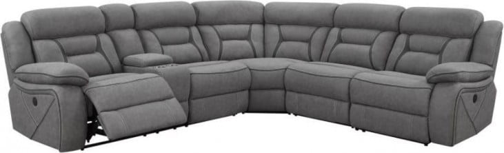 faux suede 4 pc power reclining sectional grey