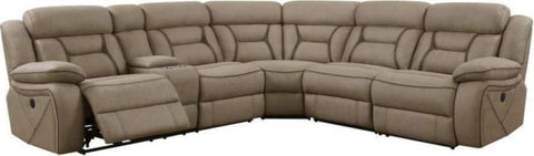 Faux Suede 4 Pc Power Reclining Sectional - Tan